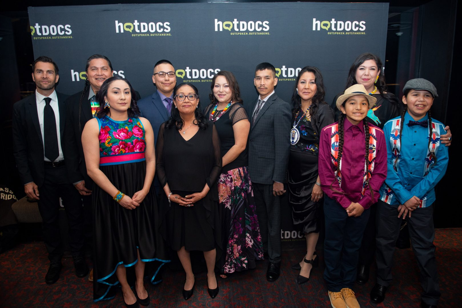 Tasha Hubbard (back row, first from the right) with Colten Boushie's family on opening night at the Hot Docs Film Festival. (Photo by Joseph Michael Howarth, courtesy of Hot Docs)
